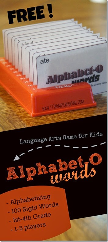Alpahbet-O is a fun, FREE printable Alphabetizing game for kids using dolche sight words. This is great for 1st grade, 2nd grade, 3rd grade, and 4th grade homeschool students.