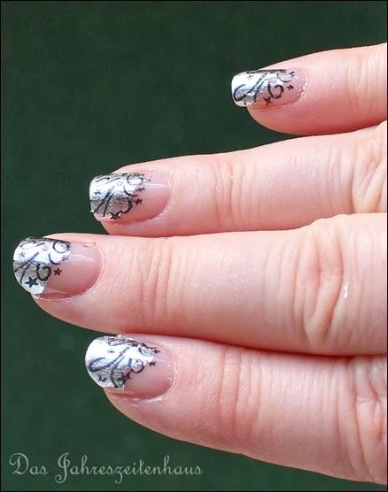 Nageldesign Silvester Glitzer Feuerwerk Silber elegant edel 12