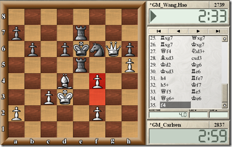 Carlsen vs Wang Hao, Round 2, Biel Chess Festival 2012. Black resigned on move 35. f4.