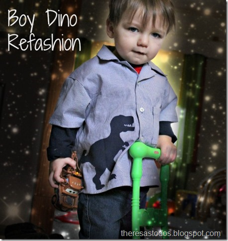 Boy Button-up Refashion, T-Rex