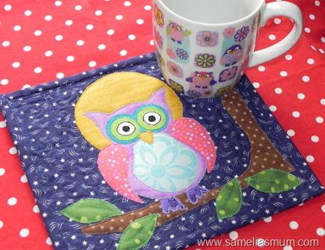 Purple Owl Mug Rug 3