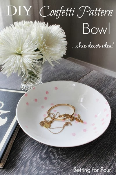 Make an Easy DIY Confetti Pattern Bowl #diy #decor