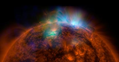 feixe de raios X no Sol