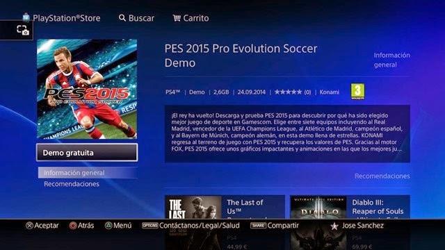 Demo PES 2015-PS4