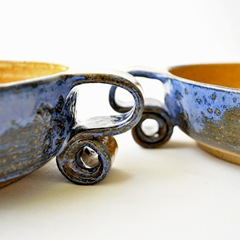 scroll handle cereal bowls by glazedOver Pottery 3