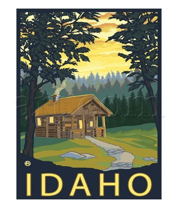Idaho log cabin poster