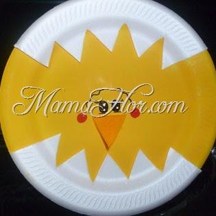Decora tu Aula con platos descartables: Pollito cascarón
