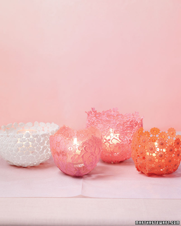 These dyed lace votives would look beautiful on a reflective table.
