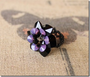Swarovski crystal 10mm jet black heart cyclamen opal rivoli bicone flower petal beaded ring