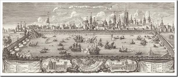 Naumaquia que se celebró en 1755 en Valencia, entre los puentes de la Trinidad y del Real, con motivo del centenario de la canonización de San Vicente Ferrer
