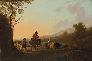 RIJKS: Jacob van Strij: Landscape with Cattle Driver and Shepherd 1785