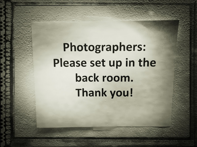 Photographers, please set up in the back room.