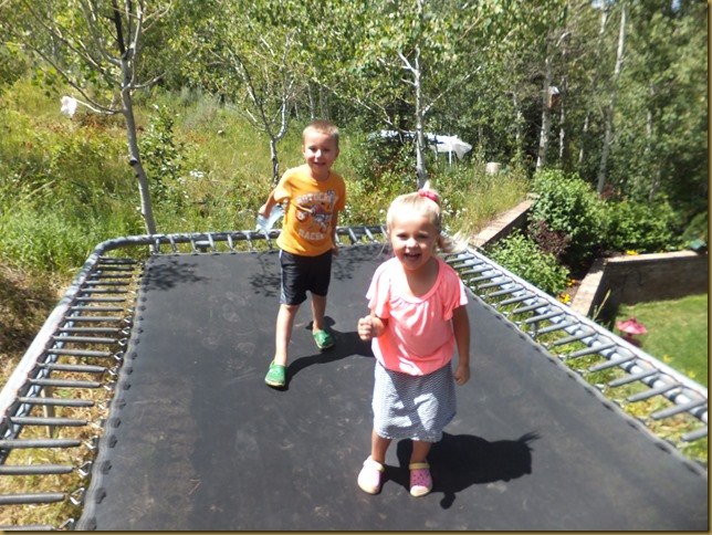 Connor and Chloe on Trampoline