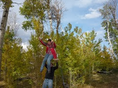 Teresa's brother, Ben Spilker, pushing her on the rope swing with all his might! See the next picture too.