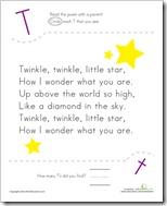 Letter T twinkle star