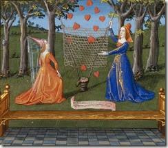 Coeurs captifs, La tenture de Manière et Chère Aimable, Livre du Coeur d'Amour épris,Paris, BnF, ms Français 24399, folio 122 verso (XVe siècle)