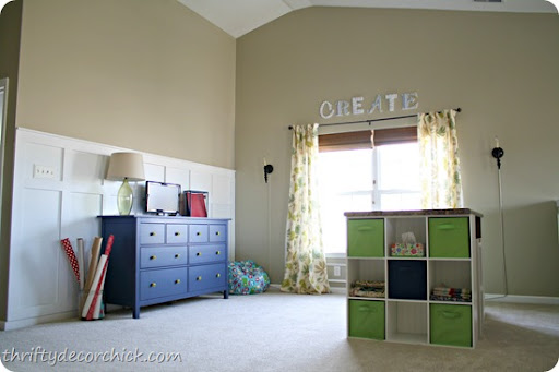 blue green craft room