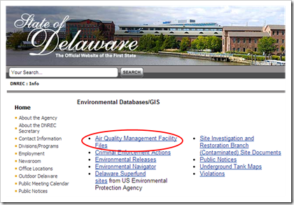 State of Delaware Environmental Databases - Air Quality Management Facility Files