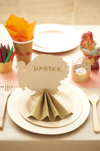 This paper turkey shape from Paper Source, www.paper-source.com, makes for a creative place card. Lay it flat or cut a slit in the bottom and stand it up with a folded paper napkin.
