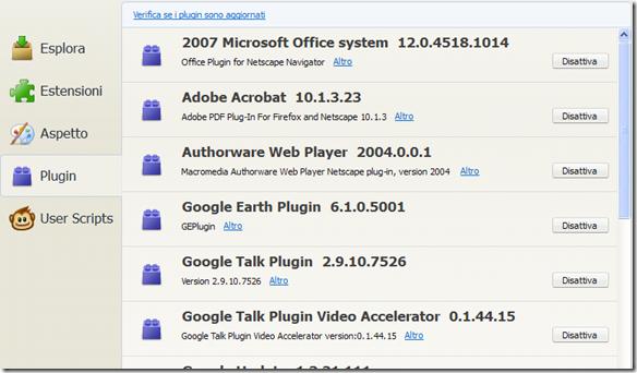 Firefox lista dei Plugin installati