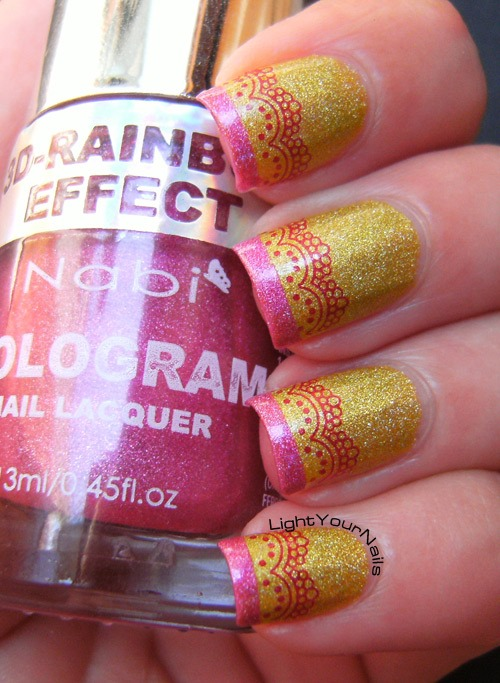 Holographic yellow and pink french mani with romantic laces from BornPrettyStore