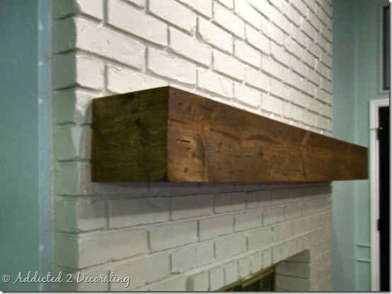 rough hewn wood mantel 4