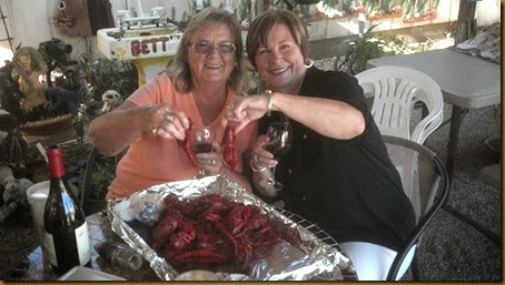 pam and bj with crawfish