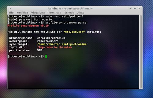 Profile Sync Daemon su Arch Linux