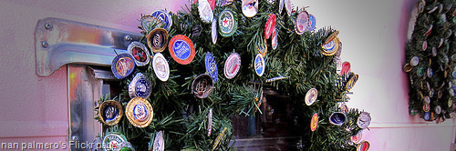 "image of ""Beer Top Christmas Wreath"" sourced from nan palmero's Flickr page"