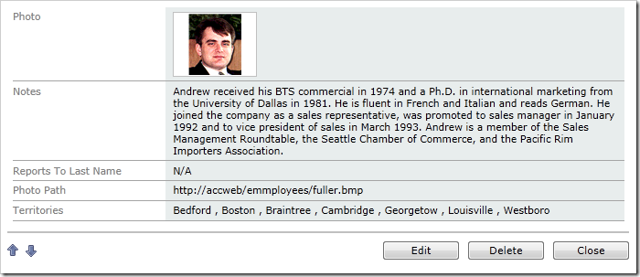 The field will display a comma-separated list of territories linked to the employee when presented in 'read' mode.
