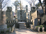 Stones commemorating successive generations of sumo champions, at Tomioka Hachiman shrine