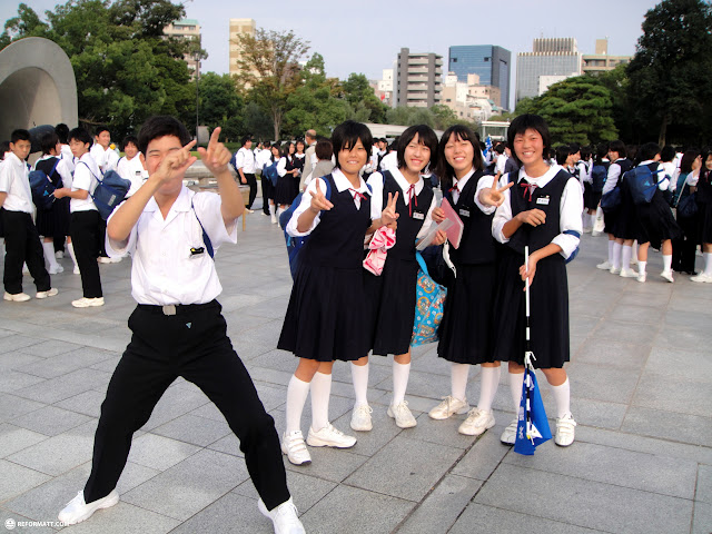 cool school kids in hiroshima in Hiroshima, Hirosima (Hiroshima), Japan