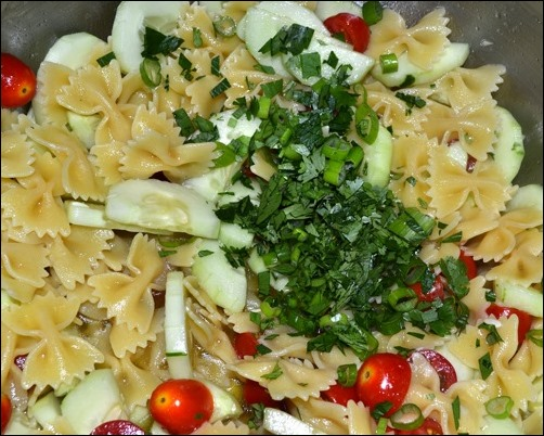 add herbs to pasta