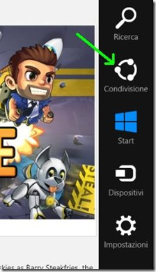 Windows 8 Charm Bar Condivisione