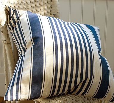 The stripes on this pillow make it look great, and the outdoor material makes it durable. (crateandbarrel.com)
