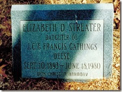 Elizabeth Deese Streater Tombstone