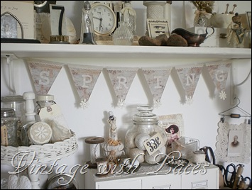 Spring banner. Fabric letters on paper/cardboard, embellished with lace and buttons