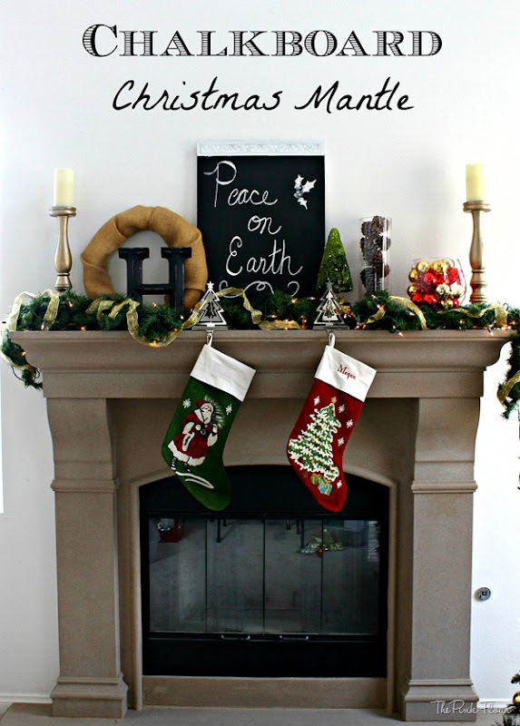 Chalkboard Christmas Mantle from www.thepinkflour.com #chalkboard #mantle #christmas