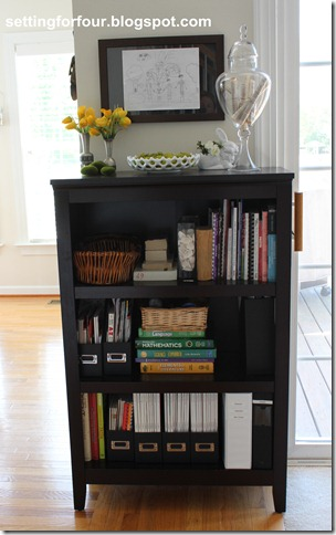 How to Organize; Bookcase Family Organizer from Setting for Four.  See how here:  http://settingforfour.blogspot.com/2012/04/bookcase-family-organizer.html #bookcase #oraganize #shelf