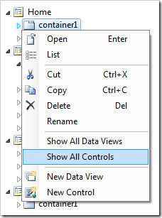 Show All Controls context menu option on container1 in the Project Explorer.