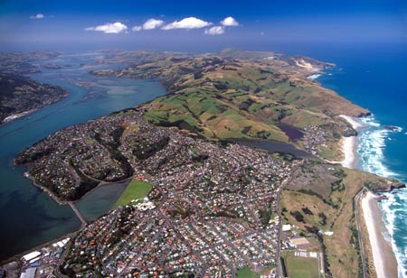 Dunedin, Otago Harbour and Otago Peninsula - aerial