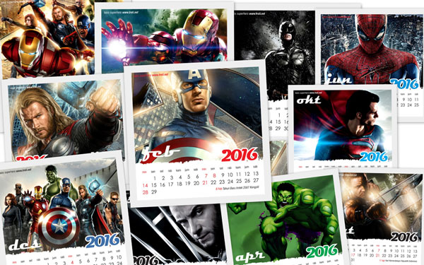 Download kalender 2016 gratis gambar superhero