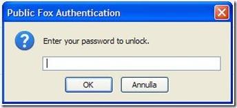 Public Fox inserire password di sblocco