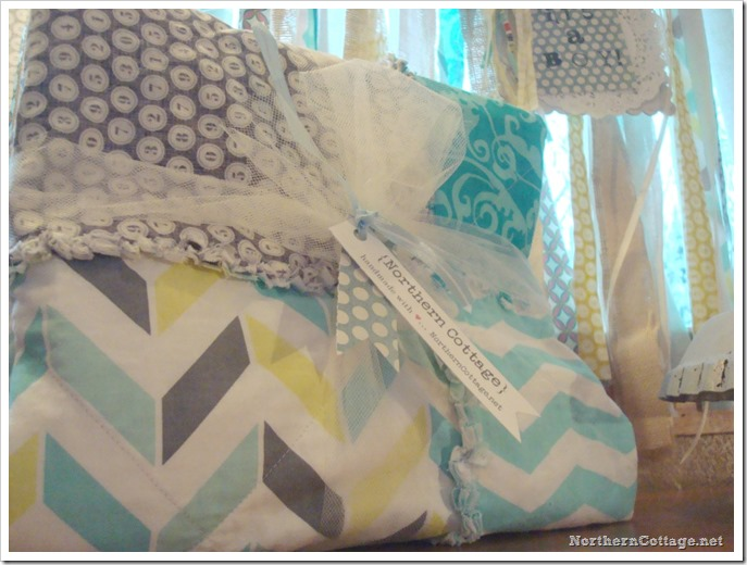 {Northern Cottage} aqua quilt and banner set