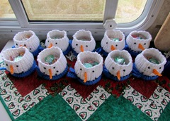 Snowmen Ready to Adorn our Christmas Table at the Clubhouse