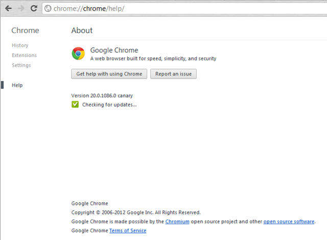 Google Chrome 19 webUI About page inside Settings