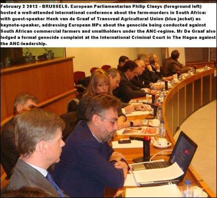 FARM MURDERS GENOCIDE2 CONFERENCE BRUSSELS EUROPARLEMENT Philip Claeys TLU VP Henk van de Graaf eo