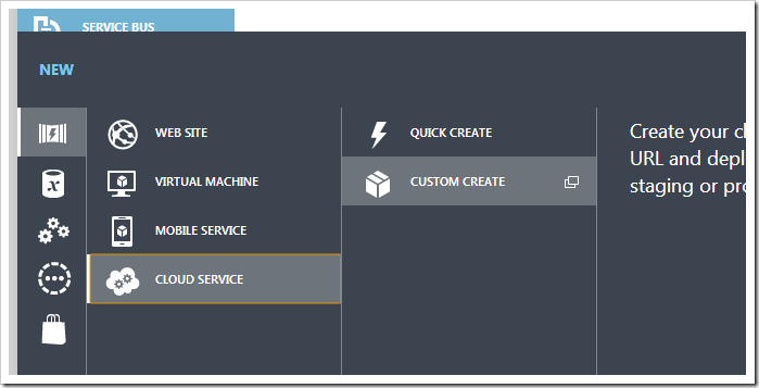 Creating a new cloud service in the Azure portal.