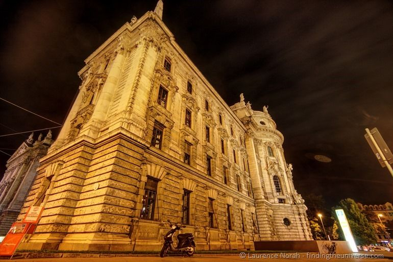 Munich palace of Justice night edited