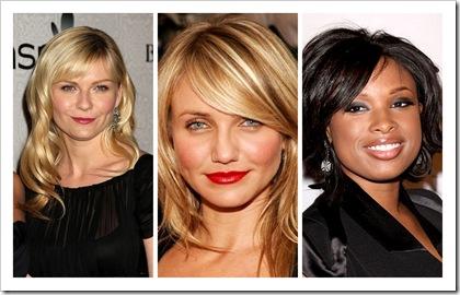 Kristen Dunst, Cameron Diaz, Jennifer Hudson Bangs Fringe Hairstyle Round Face